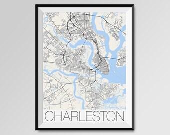 CHARLESTON South Carolina Map, Charleston City Map Print, Charleston Map Poster, Charleston Wall Map Art, College of Charleston, The Citadel