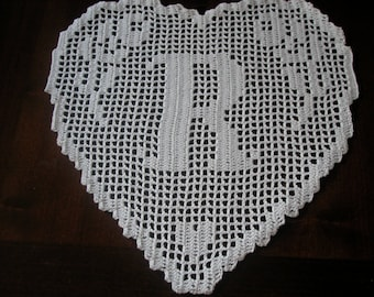 "Crochet PATTERN Monogram Doily Lace Crochet  HEART ""R"""