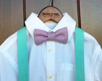Easter Bowtie, Childs Easter Outfit, Little Boy Easter, Purple linen bowtie, aqua suspenders, boys Easter outfit, Purple Easter bow tie