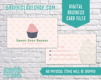 Printable Cupcake/Bakery Double Sided Business Cards | Calling Card, Contact, Small Business, Sweet, Bake | Digital JPG, PNG & PDF Files