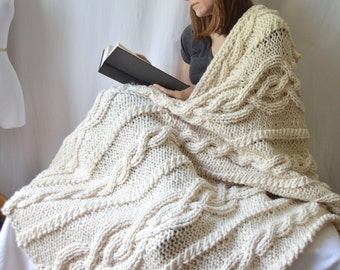 Chunky Wool Blend Knitted Blanket,  Throw Blanket, Cable Knit Afghan, Wedding Gift, Celtic Aran Knit, Housewarming Gift, MADE TO ORDER
