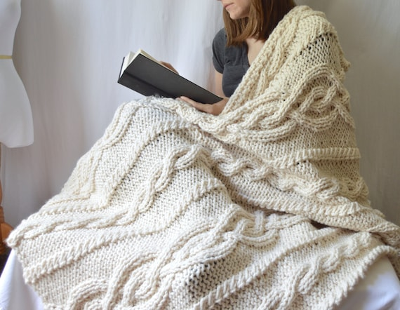 Chunky Wool Blend Knitted Blanket Throw Blanket Cable Knit