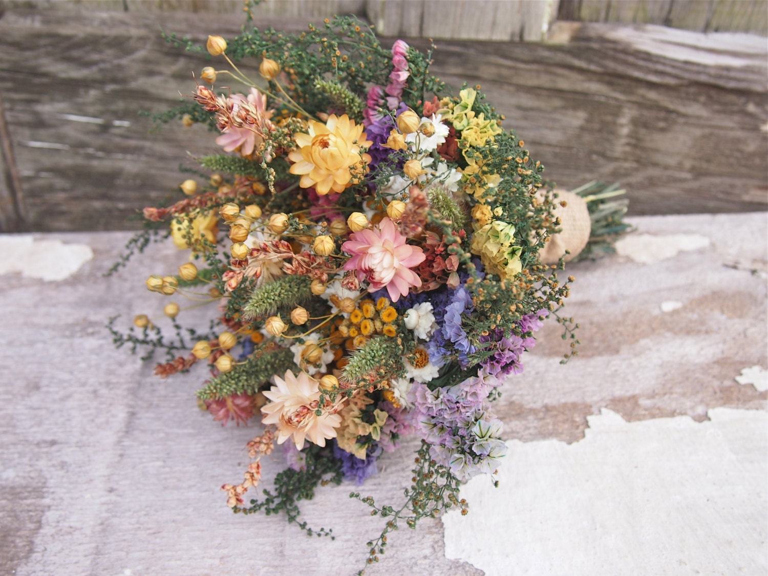 Country calico bridesmaid dried flower bouquet rustic zoom izmirmasajfo Images