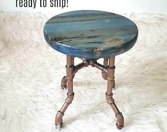 Blue Stool, Reclaimed Wood Stool, Plant Stand, Childs Stool, Farmhouse Stool, Round Foot Stool, Rustic Stool, Stool Pipe Legs, Kid Stool
