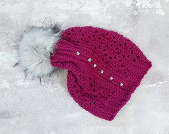 Slouchy hat, magenta, pink, hat with faux fur pompom, hat with buttons