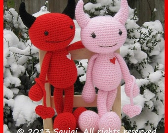 Devils in Love Amigurumi Crochet Pattern - English only - Instant PDF download