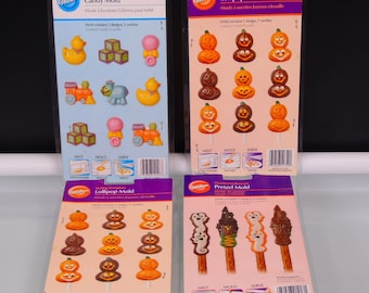 Candy Molds Thanksgiving Halloween Pumpkins 4 Wilton Lollipop Pretzel Treats Forms  Artisan Candy Make