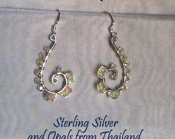 Opal Earrings with Swarovski Crystals and Sterling Silver