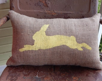 Easter Rabbit Bunny Throw Pillow / Burlap Accent Pillow / Spring Easter Home Decor
