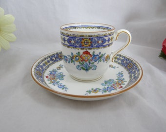 1930s Vintage Minton Luxor English Bone China Hand Painted Cappuccino Demitasse Teacup and Saucer - 4 available