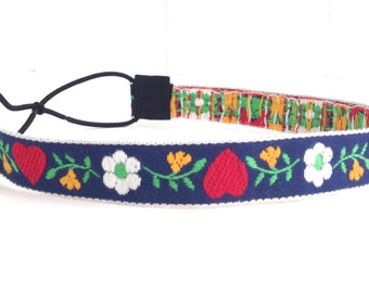 Navy, Red, and White Vintage Woven Ribbon Headband