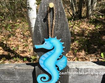 Seahorse ornament, seahorse decor, coastal christmas tree ornament, wooden seahorse, hand painted christmas ornaments, beach ornaments, sea
