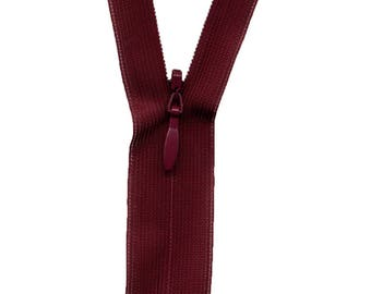 Invisible zipper red Bordeaux C578