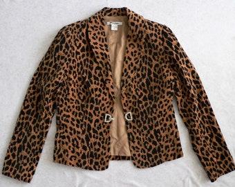 Vintage 90s Leopard Cheetah Print Shania Twain Jacket Blazer (Size 8)