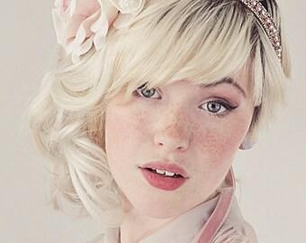 Rosette Flower Headband Blush and Ivory Silk Roses Wedding Bridal