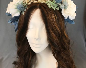 Festival Crown, Flower Crown, Wedding Wreath, Flower Hair Wreath, Blue Headpiece, Floral Ivory Crown,  Blue Ivory Wreath, Coachella Crown