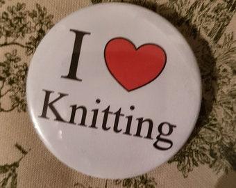 I Love Knitting 55mm pin badge