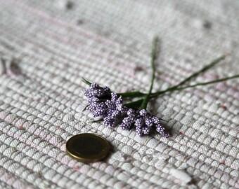 Smallest lilac flowers twigs. Set 3 flowers