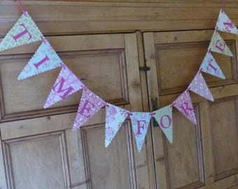 Tea Party Bunting Banner - TIME FOR TEA - Mad Hatters Tea Party - Alice In Wonderland - Floral, Pink, Green, Blue
