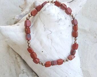 Red jasper and red copper stretch bracelet