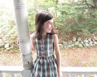 Vintage Red Green Plaid Girls Skirt Vest Sears