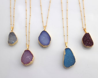 Natural Stone Pendants Druzy stone necklace etsy natural druzy gold or silver necklace 24k gold plated long druzy necklace natural stone audiocablefo