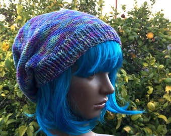 Pastel goth slouchy hat, colorful beret, fairy kei hat, Pastel colors hat, slouchy beanie, hand knit hat, fun winter hat, loose fit beanie