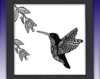 Framed Hummingbird Print
