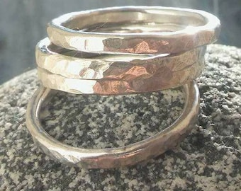 Silver Stacker ring, Silver stacking Ring, Stack ring, Silver ring, Hammered Silver ring, Hammered ring, Bridesmaid gift, Birthday gift.