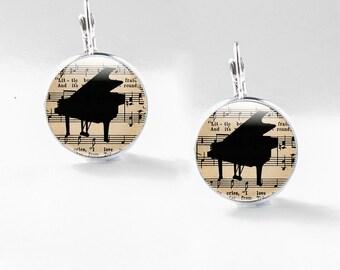 Piano Jewelry - Silver Piano Jewelry - Piano Glass Jewelry (piano 9)