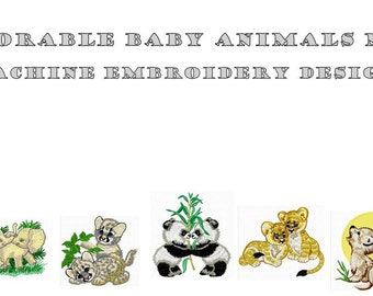 Machine Embroidery Designs - Adorable Baby Animals No2 - Instant Digital Download - Pes / Jef / Hus / Dst / Exp / Vip / Vp3 / Xxx Formats