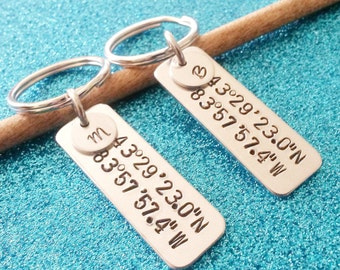 Couples Keychains, Coordinates Key Chains, Personalized Keychains, His & Hers Keychains, Couples Gift, Boyfriend Gift, Gift for him, for her