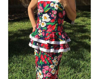 Floral Peplum Dress Navy Blue with Red & Pink Tulips and Tropical Flowers White Trim w/Shrug Size Medium by Jessica Howard Elastic Waist