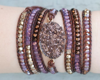 Gold, Purple & Brown Druzy Wrap Bracelet