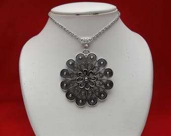 Silver Stainless Steel Chain Necklace Flower Locket Pendant