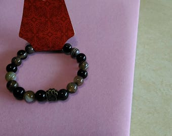 Gemstone Bracelet-Brown Striped Agate 10 mm beads with Bronze Paw