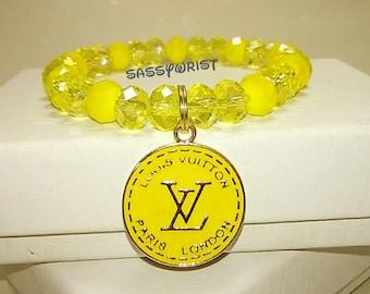 Designer Inspired/Glass Crystal Charm Bracelet in Spring Yellow