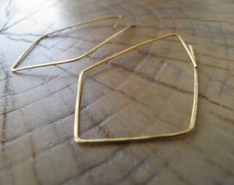 """Hoop Earrings...""""Angles"""" handmade and hammered brass or sterling silver wire earrings."""