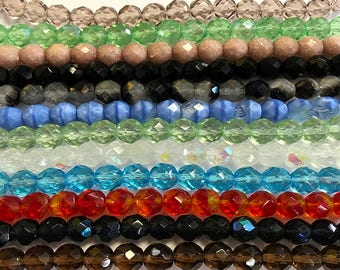 12 qty. 8mm Faceted Czech Glass Fire Polish Beads - Assorted Colors