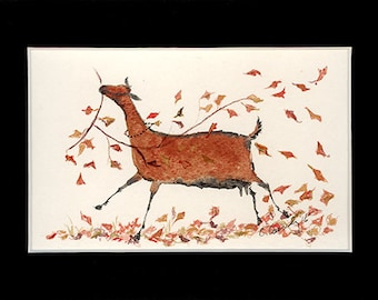 "Dairy Goat Art NOTE CARDS: Autumn Ober with Leaves. Ink Drawing Print on 4 1/4"" x 5 1/2""  Cards with Envelopes"