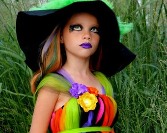 Wicked Witch Costume - Tutu Dress - Costume - Fancy Witches Hat - Sizes 6, 7/8 or 9/10 - Witch Costume - Pageant Dress - Pageant Costume
