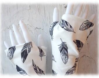 Feder - Armstulpen Halbhandschuhe gefüttert, Jersey, schwarz, weiß Federn