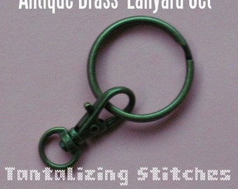 34mm / 1.3 Inch Swivel Clips with Matching Key Ring in Antique Brass Finish - Choose from 240, 600, and 1500 sets