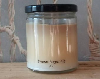 Brown Sugar & Fig - Soy Candle - Hand Poured Scented Natural Soy Wax - available sizes, 6 oz and 11 oz - Handmade in Baltimore MD