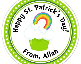 Happy St Patrick's Day Stickers, Cute Cupcake with Rainbow Labels, 2.5 inch round