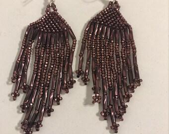 Handcrafted beaded dangling earrings