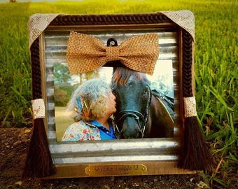 Custom Wooden Picture Frame with Braided Horse Hair Accents