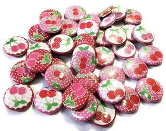 """Cherry, 1"""" Button, Cherry Button, Cherry Pin, Cherry Party Favor, Cherry Flatback, Cherry Pinback, Pink Cherry, Red Cherry, Cherries, Cherry"""