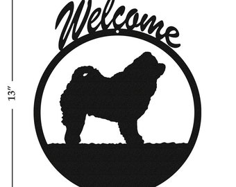 Dog Chow Chow Black Metal Welcome Sign