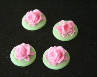 """4 cabochons """"flowers in relief"""" resin. (ref:0940)."""